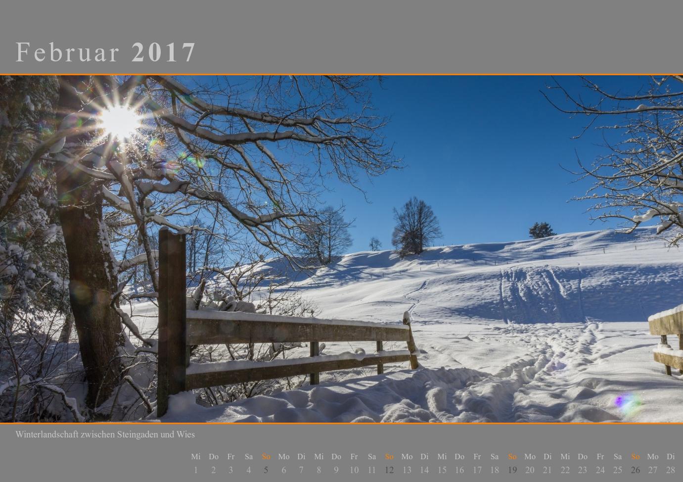Kalender 2017 Februar