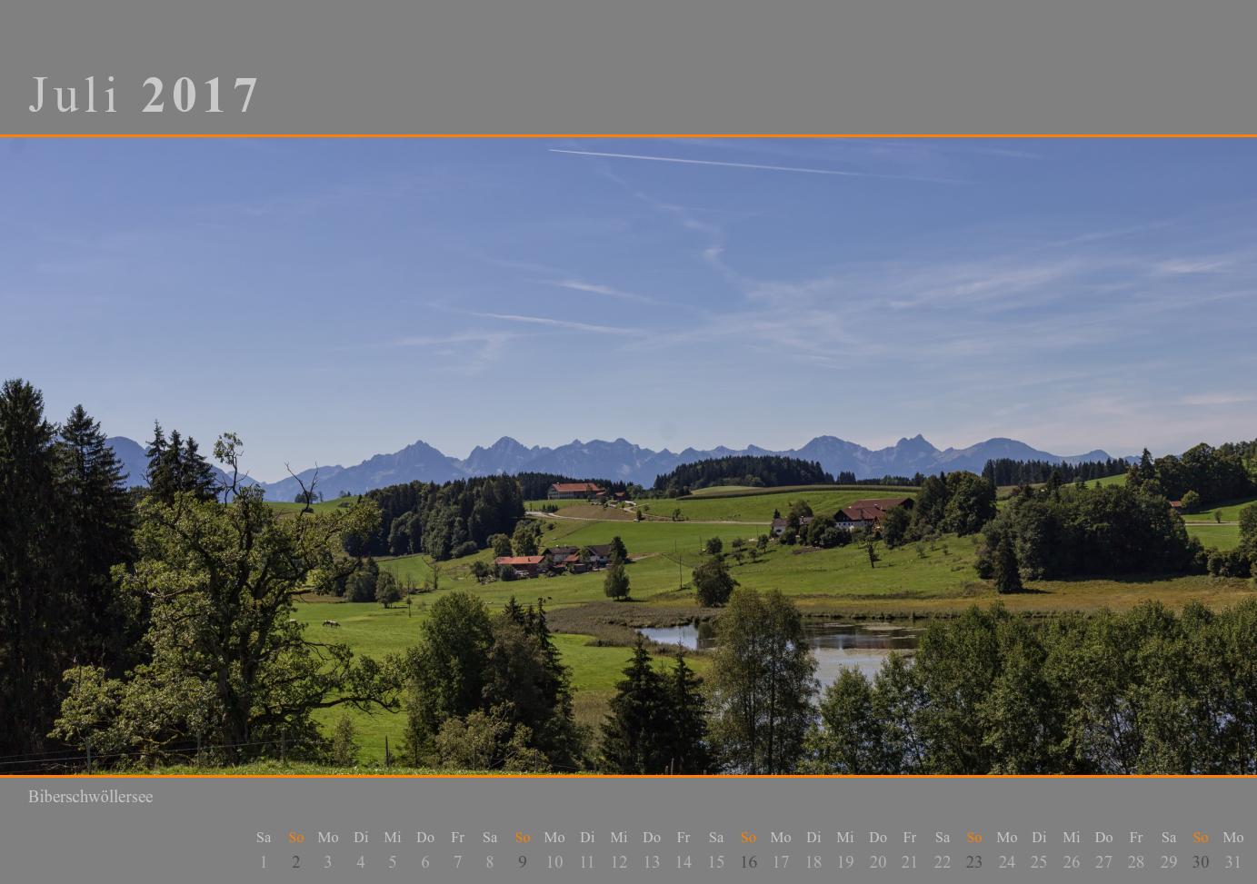 Kalender 2017 Juli