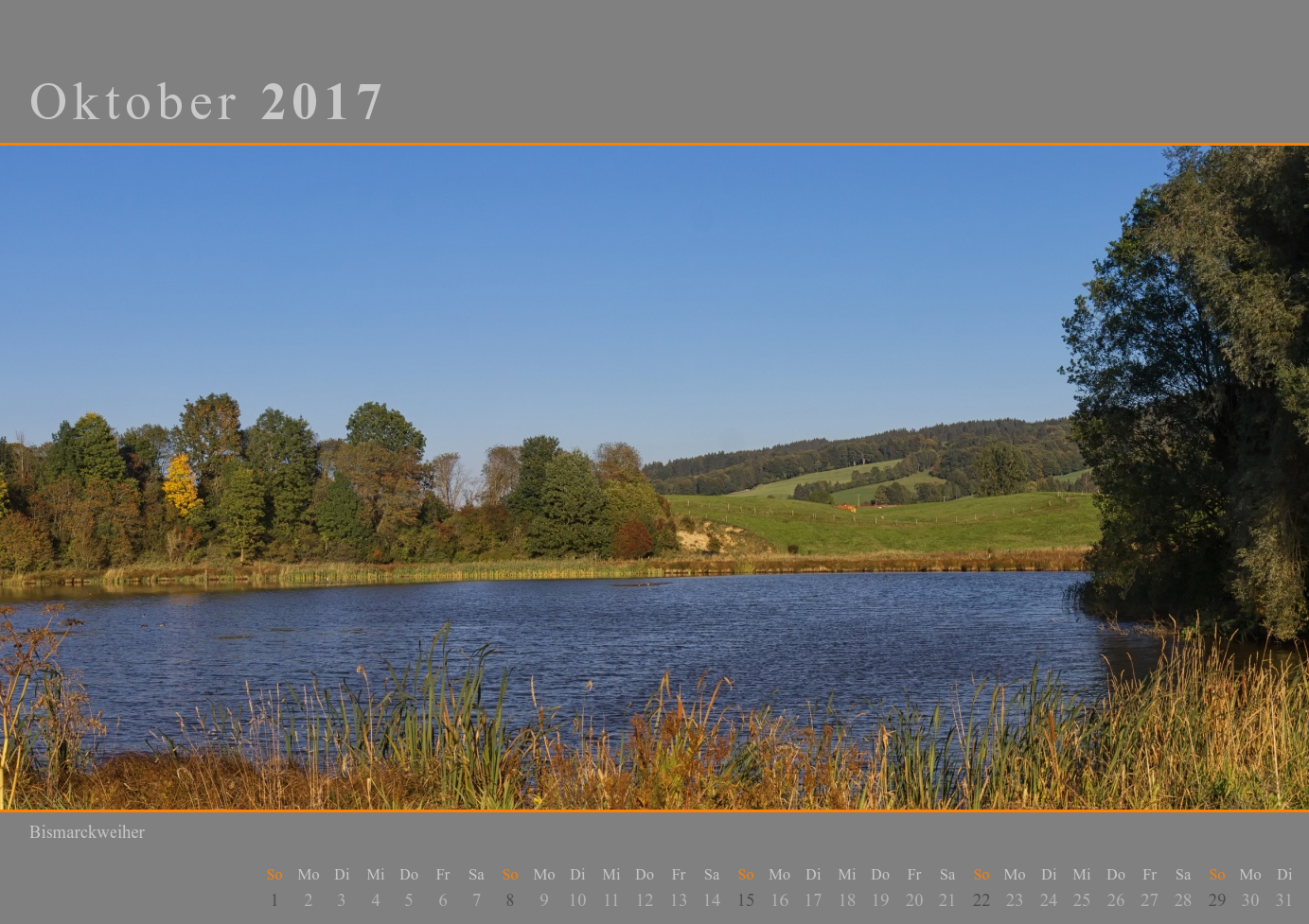 Kalender 2017 Oktober